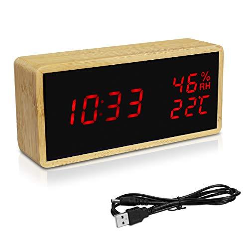 Navaris Reloj Digital de Madera con conexión USB y LED en Rojo - Despertador con 3 alarmas indicador de Humedad y Temperatura - En marrón Claro