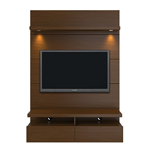 Manhattan Comfort Cabrini Theater Panel 1.2 Collection TV Stand for Flat Screens Floating Wall Theater Entertainment Center, Nut Brown