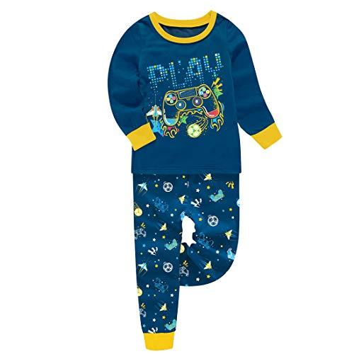 Pijama de manga larga para niños y niños, divertido que brilla en la oscuridad, diseño de avión de fútbol