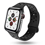 BOLUBUS Compatible with Apple Watch Band 38mm 40mm 42mm 44mm Women and Men, Soft Silicone Replacement Wristband with Holes Compatible with iWatch Band Series 5/4/3/2/1.