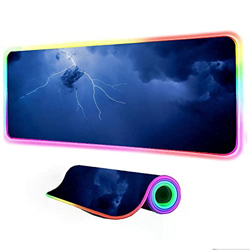 Gaming Mouse Pad Lightning Sky Gamer Accessories Pc Game Keyboard Mats LED RGB for Pc Computer Backlight Mat 24 inch x12 inch x0.15 inch