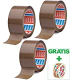 Tesa 3 Rollen Paketband 64014 Braun - leise abrollend -