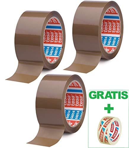Tesa 3 Rollen Paketband Braun 64014 - leise abrollend - 50mm X 66m + Gratis Tesafilm [15mm X 10m]