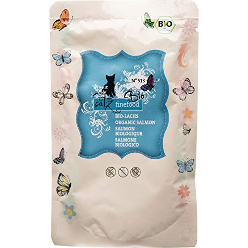 catz finefood Comida para Gatos Bio de salmón – N° 513 – Comida húmeda para Gatos – 12 x 85 g – sin Cereales ni azúcar añadido (1,02 kg)