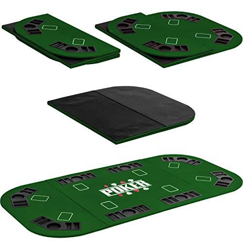 Maxstore Faltbare XXL Pokerauflage für bis zu 8 Spieler, Maße 160×80 cm, MDF Platte, 8 Getränkehalter, 8 Chiptrays, grün - 4