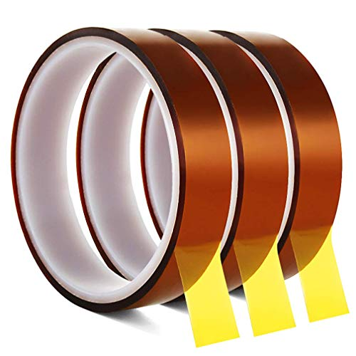 3 Roll 20m x 20mm High Temp Tapes - YTBUBOR Heat Resistant Tape Polyimide Film Self Adhesive Tawny Masking Tape for Electric Task, 3D Printers, Solder, Painting and Packing Fixing