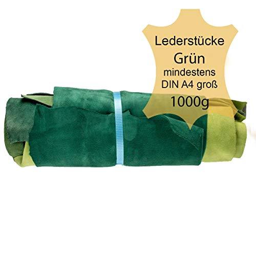Langlauf Schuhbedarf ® Lederstücke Möbelleder Mind. A4 groß Varianten von Grün Bastelleder Lederreste
