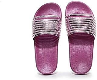 Rhinestone Shoes Slippers Women Bling Beach Shoes Flip Flops Crystal Slides Female Slip On Casual Shoes Shiny outdoor slippers (Color : Red, Shoe Size : 7.5)
