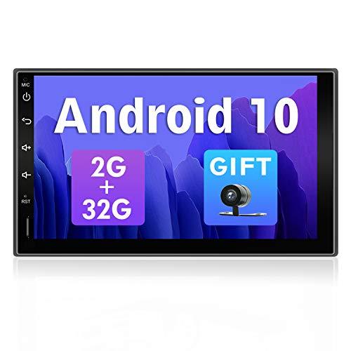 SXAUTO Android 10 Autoradio Car Stereo GPS Navegacion - [2G+32G] - Gratis Cámara Trasera - 2 DIN - Soporte Dab 4G WiFi Bluetooth5.0 Carpaly Control del Volante Android Auto Split Screen - 7 Pu