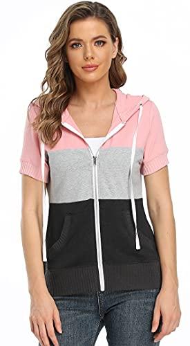 MISS MOLY Damen Kurzarm Kapuzenpullover Sweatjacke Hoodie Sweatshirt mit Reissverschluss Patchwork M, Rosa
