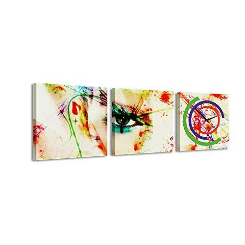 PROXTA Quadrato Orologio de Parete Occhio Segreto Donna Vernice verniciatura Simboli Macchie Colori Colorati