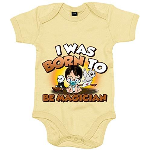Body bebé I was born to be magician parodia Harry Baby Potter - Verde, 6-12 meses
