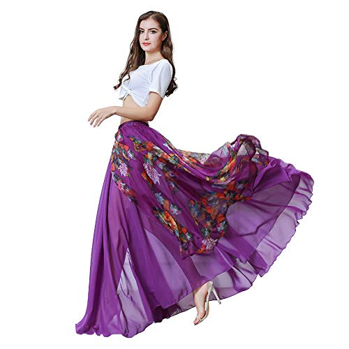 ROYAL SMEELA Bauchtanz Kostüm für Damen Bauchtanz Tops Rock Flamenco Karneval Maxiröcke Tanzendes Outfit Kleider Weiß Crop Tops T-Shirt Blumen Chiffon Schlitz Langer Rock Set