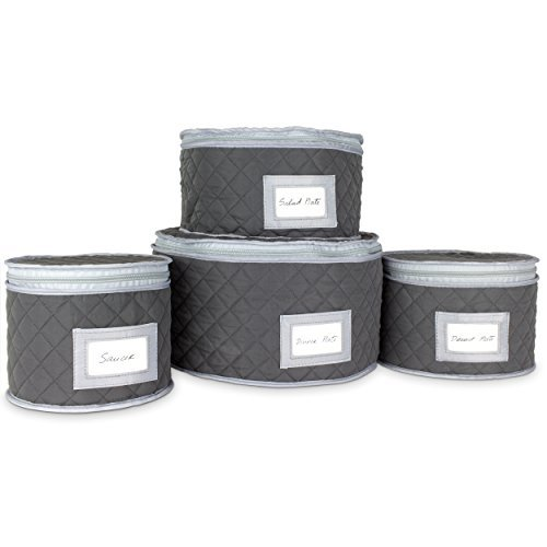 """Fine China Storage - Set of 4 Quilted Cases for Dinnerware Storage. Sizes: 12"""" - 10"""" - 8.5"""" and 7"""" Long - Gray - Quilted Fabric Container with 48 Felt Plate Separators Included"""