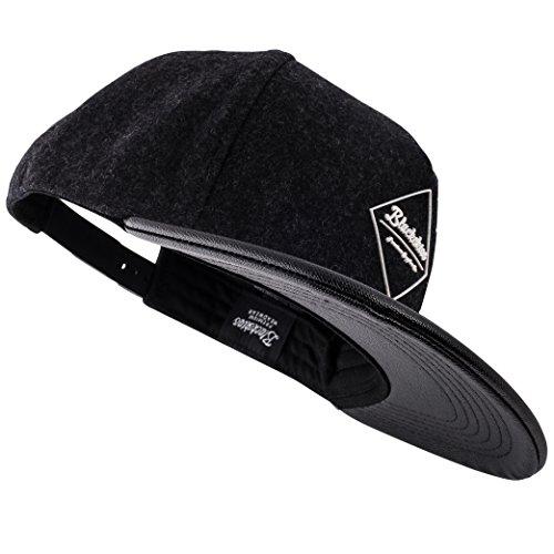 Blackskies Amun Snapback Cap Schwarz Kunstleder Schirm Unisex Premium Baseball Mütze Kappe Wolle