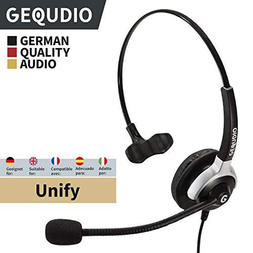 GEQUDIO Headset geeignet für Unify ® OpenStage 30 40 60 80 OpenScape Telefone mit RJ-Anschluss, mit Kabel, 60g leicht