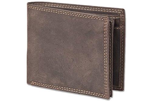 Woodland - Portafoglio orizzontale con spazio per 11 carte di credito fatta di naturale, pelle di bufalo morbida marrone scuro/Taupe