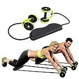 ROSETOR 1 rodillo de abdominales, rodillo de doble rueda de ejercicio, mango de fácil agarre, rodillo de entrenamiento en casa gimnasio (verde)