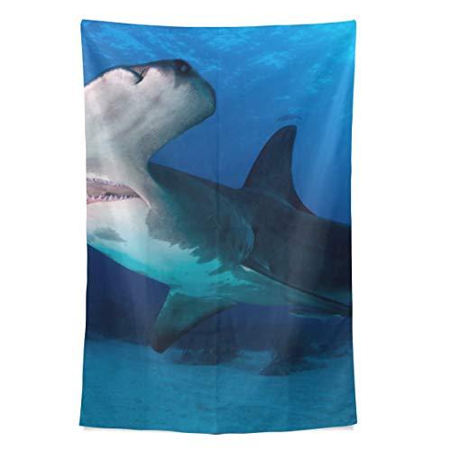 Fierce Awful Shark Unterwasser Wandteppich Wandbehang Cool Post Print Für Wohnheim Home Wohnzimmer Schlafzimmer Tagesdecke Picknick Bettlaken 80 X 60 Zoll