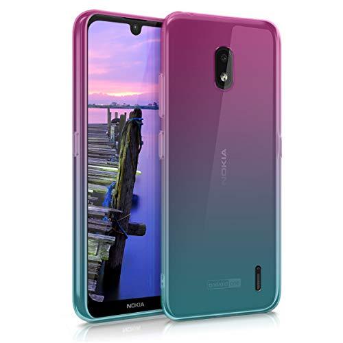 kwmobile Hülle kompatibel mit Nokia 2.2 - Hülle Handy - Handyhülle Zwei Farben Pink Blau Transparent
