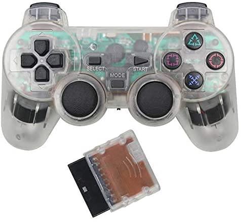 PS2はアナログコントローラーをサポート 2.4Ghz 無線 コントローラー プレステ2 互換品 振動対応 playstation2 PS2ゲームパッド (透明白い)