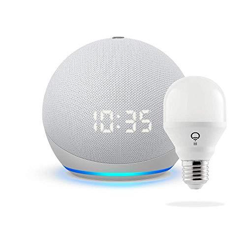 Nuevo Echo Dot con reloj (4ta Gen) - Blanco - Paquete con LIFX Smart Bulb (Wi-Fi)