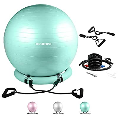 NEUMEE Exercise Ball Chair with Resistance Bands, Yoga Ball Office Chair with Stability Base for Home Gym, Workout Ball for Fitness, Large Size 65 cm, Teal
