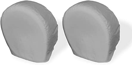 Explore Land Tire Covers 2 Pack - Tough Vinyl Tire Wheel Protector for Truck, SUV, Trailer, Camper, RV - Universal Fits Tire Diameters 23-25.75 inches, Charcoal