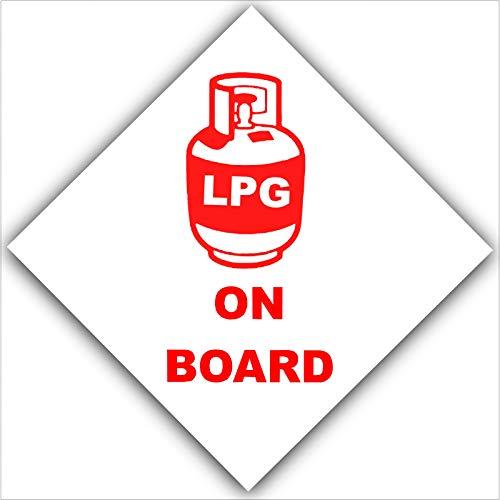 6x rot auf weiß LPG Gas auf board-external selbstklebend stickers-liquid Petroleum Propan butane-health und Sicherheit signs-caravan, Camper, Wohnmobil, Boot, BBQ