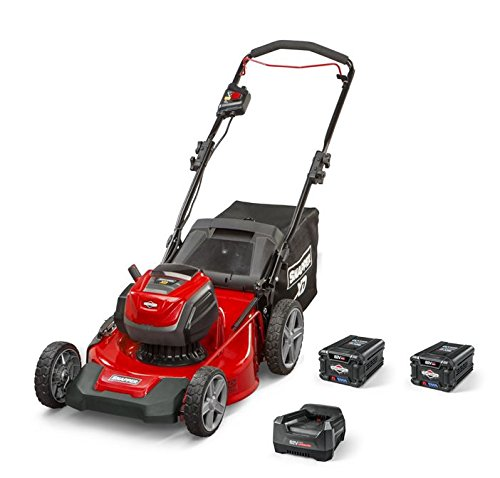 "Snapper XD 82V MAX Cordless Electric 21"" Push Lawn Mower, Includes Kit of 2 2.0 Batteries and Rapid Charger"