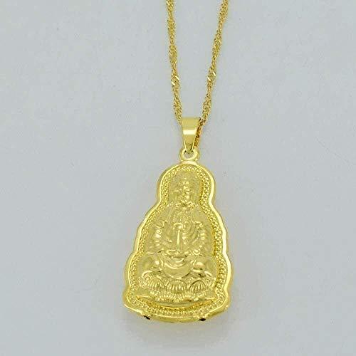 WSBDZYR Co.,ltd Necklace Fashion Guanyin Buddha Necklaces Gold Color Indian Buddhism Avalokites Wand Pendant Necklaces Chinese Style Jewelry