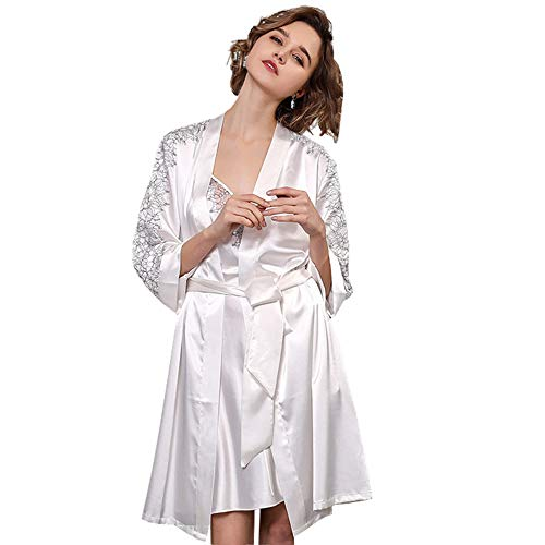 Silk Pajamas Women's Pjs Set Ladies' Summer Sling Nightdress Silkworm Silk Nightgown Sling Nightdress Lace Stitching Bridal Dressing Gown,White,L