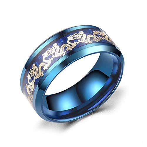 Daesar Verliebte Ring Edelstahl Verlobungsring Freundschaftsring Hochglanzpoliert Drachen Rund 8 MM Hochzeitsringe Blau Herren Preis für 1 Pcs Gr.70 (22.3)