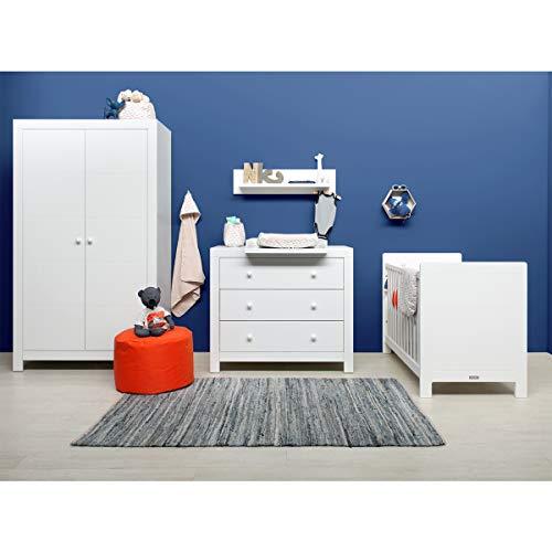 Chambre complète lit bébé 60x120 - commode à langer - armoire 2 portes Hugo - Blanc