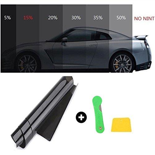 RenxinU Auto Anti UV Resistente ai Graffi Finestra Pellicola Tinte Nero Kit Rullo VLT 50 cm x 3 m Pellicola per Vetri Car Window Tint Film