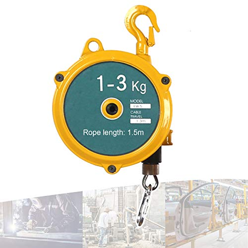 Spring Balancer, Hanging Spring Tool Balancer Self Locking Retractor with Hook and 1.5m Wire Rope, Retractable Spring Balancer Heavy Object Fixture for Factory Pier