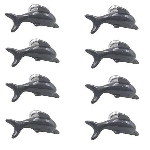 8 Pcs Ceramic Dolphin Handle Pull Drawer Pulls Cabinet Knobs Dresser Wardrobe Pulls Single Hole Pull Handles (Grey)