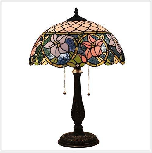 DALUXE Tiffany-Stil Led-Lampe 16-Zoll-Messing Basiseffekt Im Alter, Fleck Glas Lilie Und Schmuck-Design Tischlampe Tiffany-Lampen