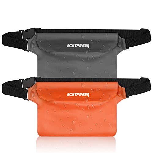 ECHTPower wasserdichte Tasche Beutel Bauchtasche Handyhülle Schutzhülle für Wassersport, Strand, Schwimmen, Bootfahren, Schutzhülle Strand-Tasche, 2 Stück (Schwarz+Orange)