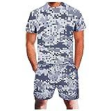 Xmiral T-Shirt Top Camicetta Camicie Pantaloncini Pantaloni Completi Tuta Sportiva Tuta a Due Pezzi Uomo Estate Tempo Libero Sport 3D Geometrica Astratta Fitness Running (3XL,8camuffare)
