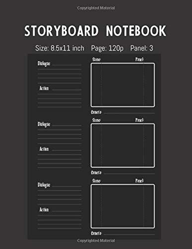 Storyboard Notebook: 3 Panel Frame with Narration Lines To Assist the Creative Process for Directors, Animators, Creative Storytellers, Filmmakers or Advertisers (StoryBoard Notebook One)