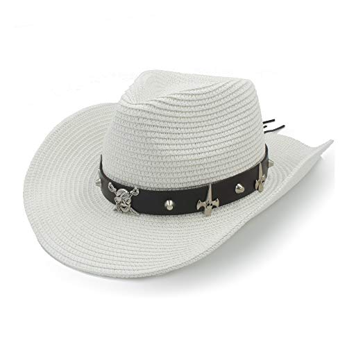 XIEWEICHAO Schalenhut Sonnenhut Basthut Sommer Cowboyhut Damen Alltag Herren Ledergürtel Totenkopf Pirat Panamahut Punk Wind (Farbe : Weiß, Größe : 58 cm)