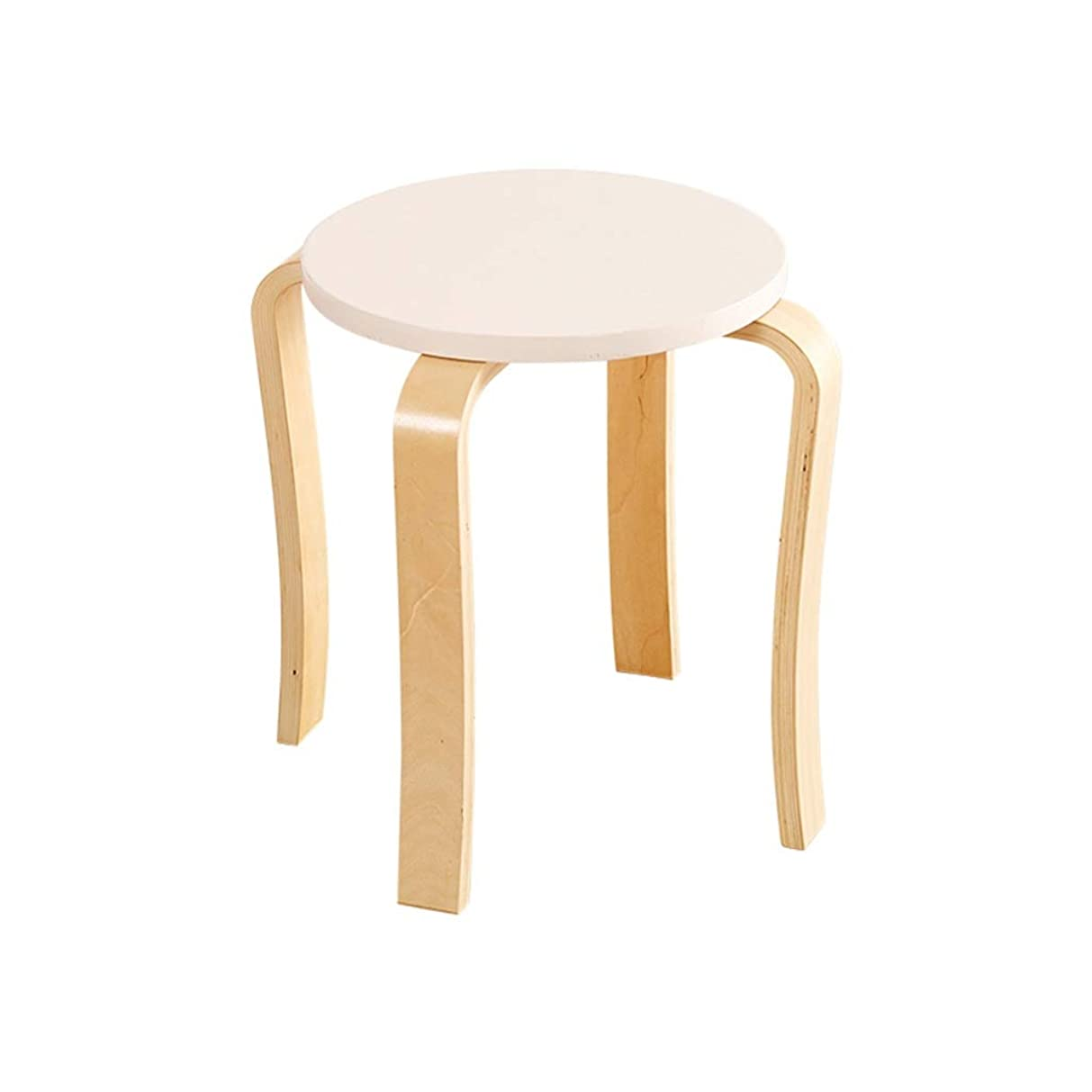 スパンエキサイティングオーラルXJLXX リビングルーム厚く小さな椅子ホーム木製ダイニング椅子寝室バルコニーレストスツール ソファースツール (Color : White)