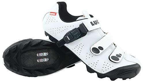 LUCK Zapatillas de Ciclismo MTB ODÍN con Suela de Carbono y Cierre milimétrico de precisión. (43 EU, Blanco)