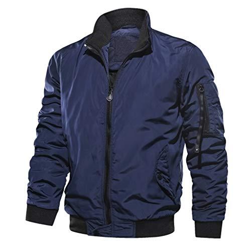 Men's Jacket Coat Autumn Winter Casual Outwear Pure Color Zipper Breathable Tops Beautyfine Blue