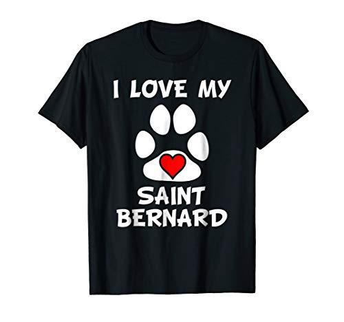 I Love My Saint Bernard Paw Print Heart Dog Owner T-Shirt