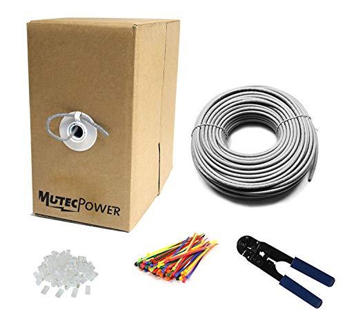 MutecPower 300m CAT5E 24 AWG Solido UTP Cavo di Rete Ethernet - con Pinza per crimpatura - 350 MHz Grigio 300 Meter
