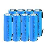 ZhanMazwj 18650 Baterías recargables 3.7v 2800mah batería de ion de litio, ICR 18650 batería con pestañas para faro 8 unids