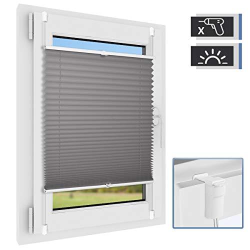 BelleMax Plissee ohne Bohren klemmfix Rollos für Fenster lichtdurchlässig Anthrazit Easyfix klemmträger verspannt 60x200 cm(BxH)