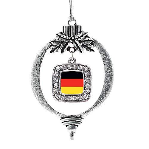 Inspired Silver - Germany Flag Charm Ornament - Silver Square Charm Holiday Ornaments with Cubic Zirconia Jewelry